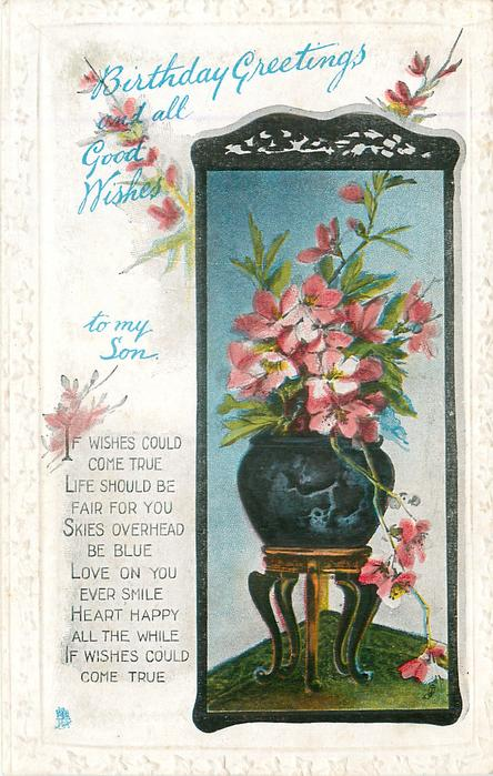 BIRTHDAY GREETINGS AND ALL GOOD WISHES TO MY SON pink azaleas in pot on stool (mirror inset)