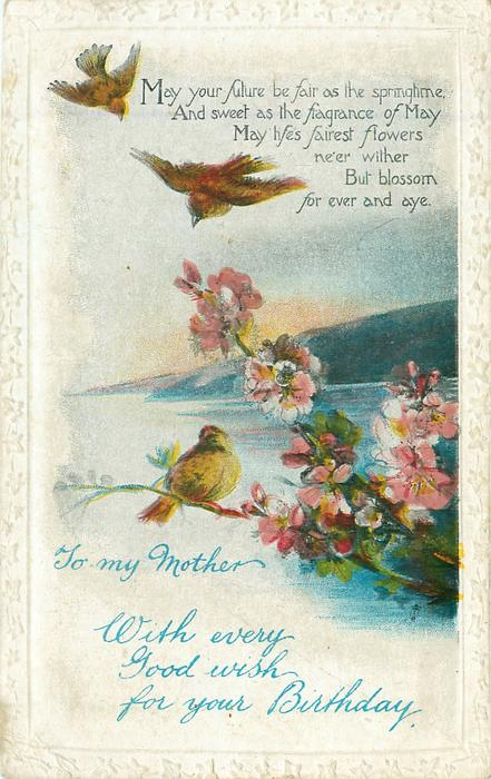 WITH EVERY GOOD WISH FOR YOUR BIRTHDAY  TO MY MOTHER  blossom, three birds, seascape