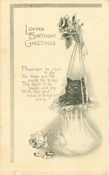 LOVING BIRTHDAY GREETINGS  black kitten in silk bag, roses