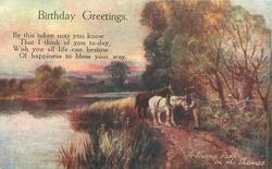 BIRTHDAY GREETINGS, A TOWING PATH ON THE THAMES