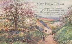 MANY HAPPY RETURNS  rural springtime, path two people & two cows