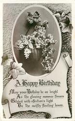 BIRTHDAY GREETINGS  lilac in basket above scroll
