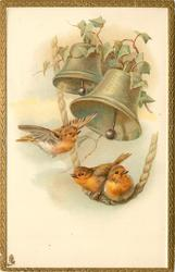 two birds on rope, another in flight nearby, two bells above