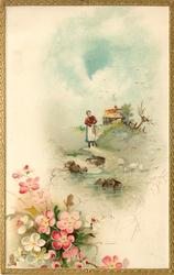woman walks forward down path, cottage behind, dog-roses lower left