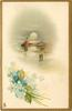 (title on back) A MERRY CHRISTMAS woman walks front with basket, four others walk away distantly, two spars stick up centrally, blue flowers lower left