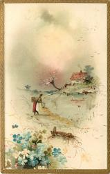 woman with basket on back walks right to water, cottage & blossom tree right, blue & white flowers lower left