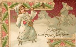 A BRIGHT AND HAPPY NEW YEAR  new year angel with trumpet  chases deafened old year away