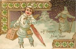 A HAPPY NEW YEAR  new year angel carrying suitcase & umbrella left, old year leaves right