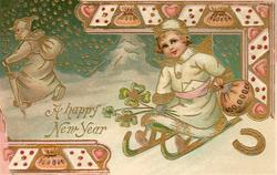 A HAPPY NEW YEAR  new year angel sleds forward with money & 4 leaf clovers, old year leaves left