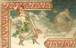 NEW YEAR GREETING  new year angel in white throws snowballs at retreating old year