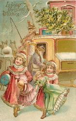 LOVING CHRISTMAS WISHES  purple robed Santa enters coach driven by Mrs. Claus, children walk away with toys