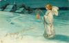 A HAPPY CHRISTMAS TO YOU  angel with gilt bell stands facing left in snowy rural landscape