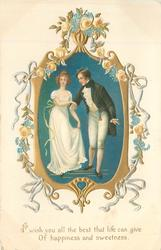 couple in old-style dress, pale pink roses