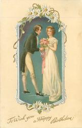 TO WISH YOU A HAPPY BIRTHDAY  young man presents roses to young lady, daisies