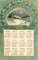 A HAPPY NEW YEAR TO YOU  snowy rural insert above calendar