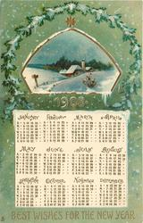 BEST WISHES FOR THE NEW YEAR  snowy rural insert above calendar