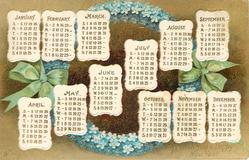 TO WISH YOU A HAPPY NEW YEAR  calendar of months for 1908 in front of blue forget-me-not wreath tied with green ribbon