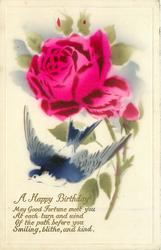A HAPPY BIRTHDAY pink rose & bud stalks to right of centre,  swallow fllies left below