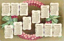 A HAPPY NEW YEAR TO YOU  calendar of months for 1908 in front of purple forget-me-not wreath tied with green ribbon
