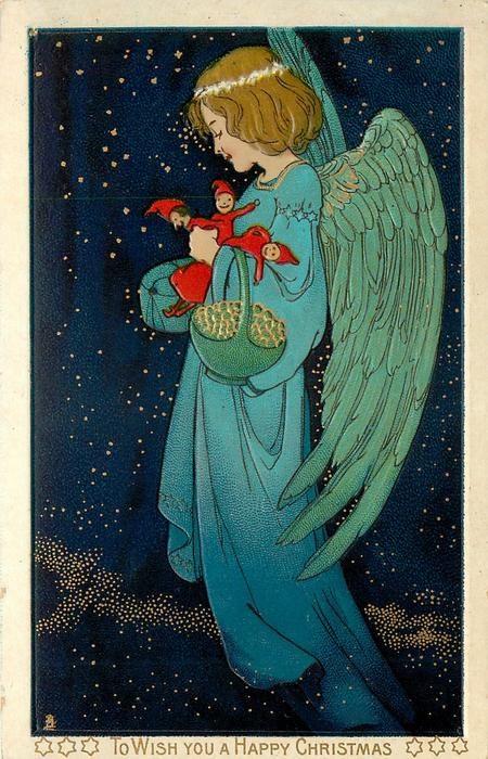 TO WISH YOU A HAPPY CHRISTMAS angel with armful of puppets