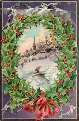 (title on back of card) A HAPPY CHRISTMAS TO YOU  holly bordered inset of snowy rural scene, church behind
