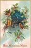 BEST CHRISTMAS WISHES  inset of night scene with lighted window, 3 robins, holly around