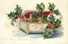 A MERRY CHRISTMAS TO YOU  two tits sit on lid of jewel box containing holly