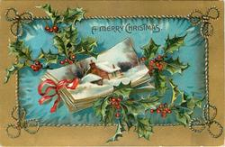 A MERRY CHRISTMAS  small inset showing postcards tied with ribbon, holly above & below