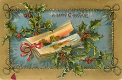 A HAPPY CHRISTMAS  small inset showing postcards tied with ribbon, holly above & below
