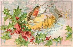 MERRY CHRISTMAS GREETINGS  snowy rural church scene right, holly left, robin above