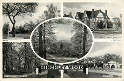 5 insets MANOR ROAD SOUTH/HINCHLEY WOOD HOTEL/HINCHLEY WOOD FROM TELEGRAPH HILL/THE WOODS, TELEGRAPH HILL/CROSS ROADS
