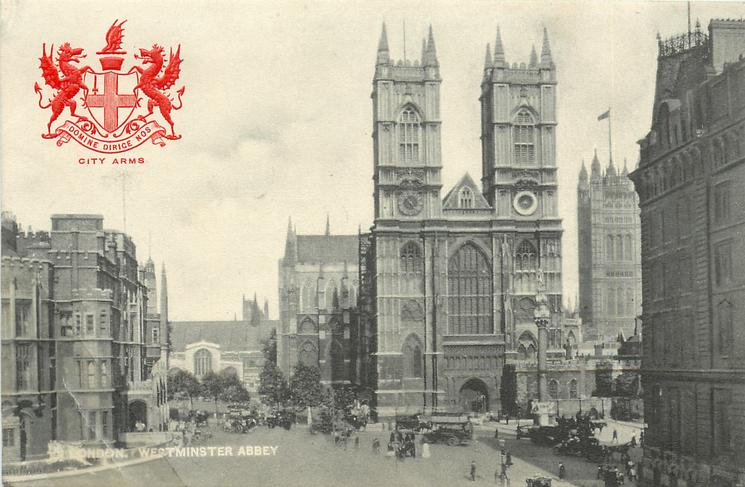 WESTMINSTER ABBEY distant trees middle left, flagpole with flag background right