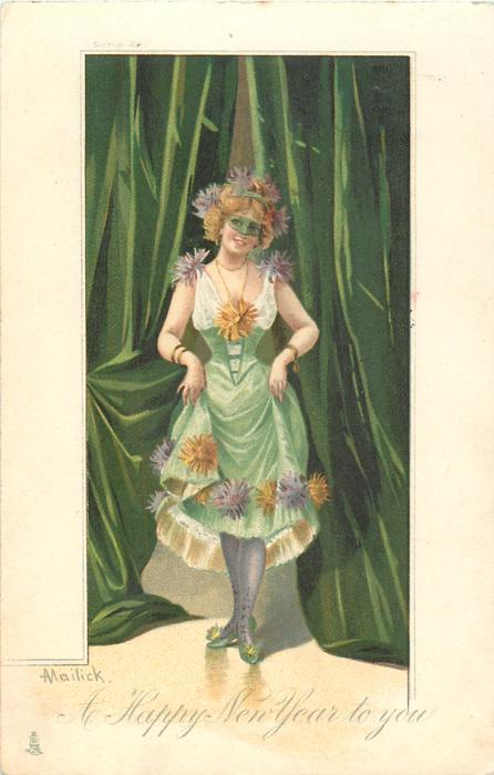 A HAPPY NEW YEAR TO YOU  Pierrette comes front from between green curtains & begins a curtsey