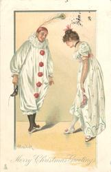 MERRY CHRISTMAS GREETINGS  Pierrot & Pierrette bow to each other