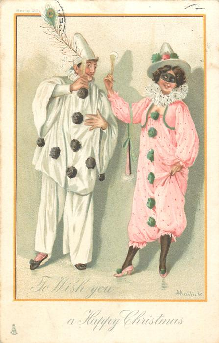 TO WISH YOU A HAPPY CHRISTMAS  Pierrot & Pierrette stand & toast each other