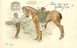 HOW ARE YOU GETTING ON?  mounting horse wrong foot first