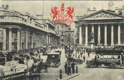 THE BANK, AND ROYAL EXCHANGE Tuck advertising on truck lower left