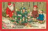 MERRY MERRY CHRISTMAS!  two children admire Xmas tree, Santa hides