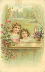 two girls look in widow, geraniums on sill left, violets right