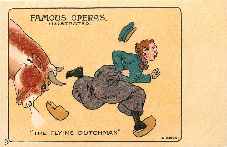 """THE FLYING DUTCHMAN""  cartoon of Dutchman chased by bull"