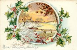 MERRY CHRISTMAS GREETINGS  round inset of snowy rural church, boat & bridge, holly