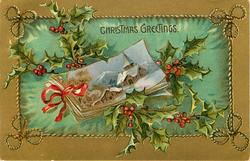CHRISTMAS GREETINGS  small inset showing postcards tied with ribbon, holly above & below