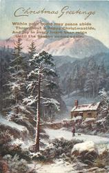 CHRISTMAS GREETINGS  verse, man & dog walk in front of cottage, snow, trees & mountain