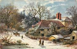 A HAPPY CHRISTMAS  man and woman walking right, horse drawn going left, man walking in middle, houses right