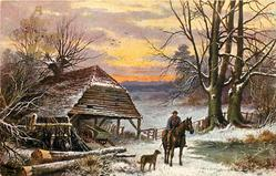 A HAPPY CHRISTMAS  man on horse with dog, cart in shed to left