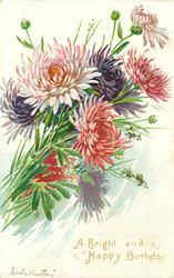 A BRIGHT AND HAPPY BIRTHDAY  many coloured chrysanthemums