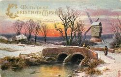WITH BEST CHRISTMAS WISHES  brick built bridge with people standing on it, windmill behind right