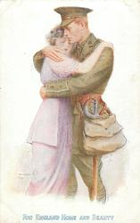 FOR ENGLAND HOME AND BEAUTY  soldier embraces beloved-same image for each card, varying series and inscriptions which are identical front & back