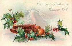 POUR VOUS SOUHAITER UN HEUREUX NOEL  steaming bowl, 2 oranges right, holly above & below