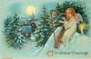 CHRISTMAS GREETINGS  angel sits on roof and plays harp, candle to her left, town on left of card